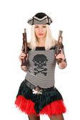 Bella ragazza con le pistole — Foto Stock