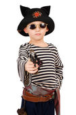 Boy dressed as pirate — Stock Photo
