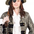 Man dressed as pirate. Isolated — Stock Photo