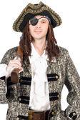 Muž, oblečený jako pirát. samostatný — Stock fotografie