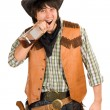 Cowboy with a bottle of whiskey — Stock Photo