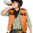 Cowboy drinking whiskey — Stock Photo