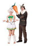 Funny couple with carrot — Stock Photo
