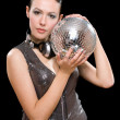Portrait of beautiful young brunette with a mirror ball — Stock Photo
