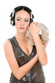 Portrait of woman with a mirror ball — Stock Photo