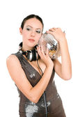 Portrait of young brunette with a mirror ball — Stock Photo