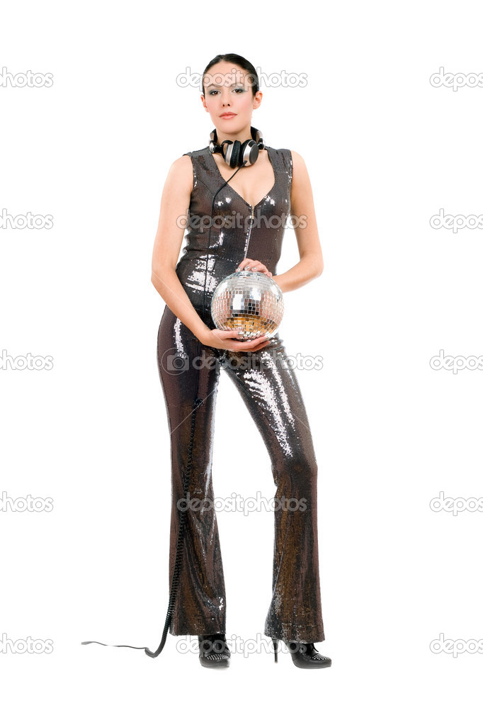Young nice brunette with a mirror ball in her hands — Stock Photo #8811364