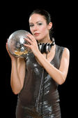 Portrait of young woman with a mirror ball — Stock Photo
