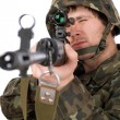 Stock Photo: Armed soldier with svd