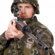 Stock Photo: Soldier keeping rifle