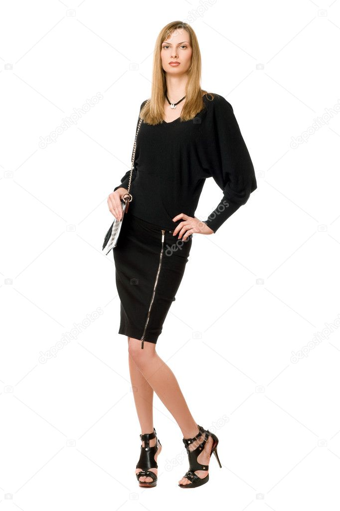 Young blonde in black  in full length — Stock Photo #9681986