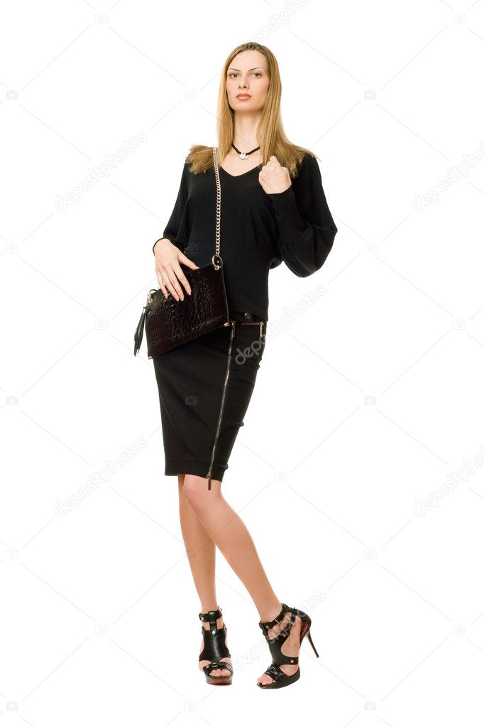 Pretty blonde in black with the purse — Stock Photo #9681989