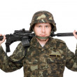 Stock Photo: Soldier with m16 on the shoulders