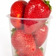 Stock Photo: Juicy ripe berry strawberry in glass