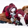 Family cheerfully play to snow — Stock Photo #8356176