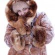 Fashionable model in winter fur clothes — Stock Photo #8356407