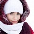 Winter portrait of the girl in the street — Stock Photo