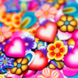 Royalty-Free Stock Photo: Background gentle flowers, petals and hearts