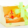 Gift easter chickens and hen — Stock Photo