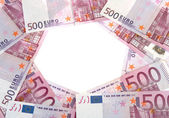 Circle of 500 Euro banknotes — Stock Photo