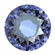 Round blue gemstone on white background.  Benitoit. Sapphire. Io - Foto Stock
