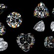 3d Round brilliant cut diamond perspective isolated on black — Stock Photo #10102205