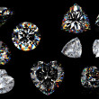 3d Round brilliant cut diamond perspective isolated on black - Stockfoto