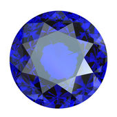Round blue gemstone on white background. Benitoit. Sapphire. Io — Foto de Stock