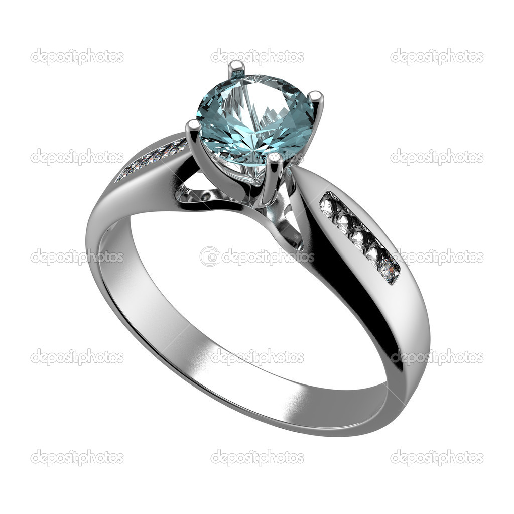 Ring with diamond isolated on white background. Swiss blue topaz. aquamarine. Grandidierite — Stock Photo #10102180
