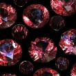 Set of round garnet isolated on black background - Foto Stock