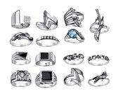 Ringen met edelstenen geïsoleerd op witte achtergrond — Stockfoto