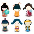 Stock Vector: Kokeshi dolls