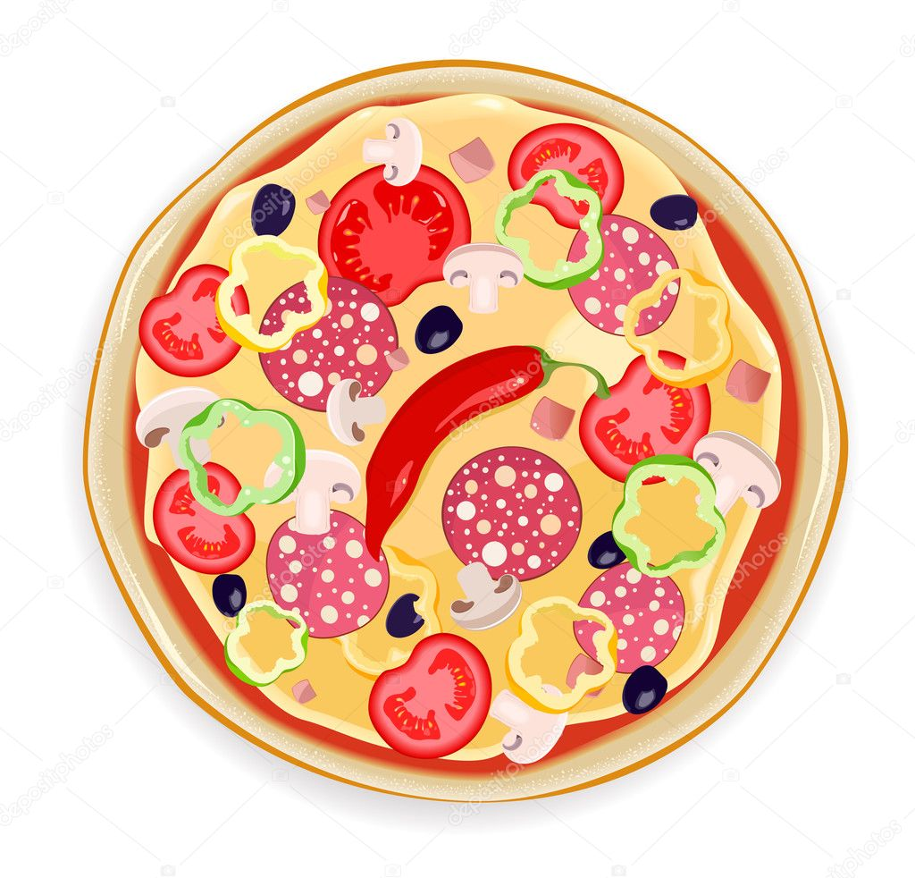 Pizza with cheese, mushroomon and salami white background — Stock Vector #8760305