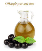 Loive oil with basil on white — Stock Photo