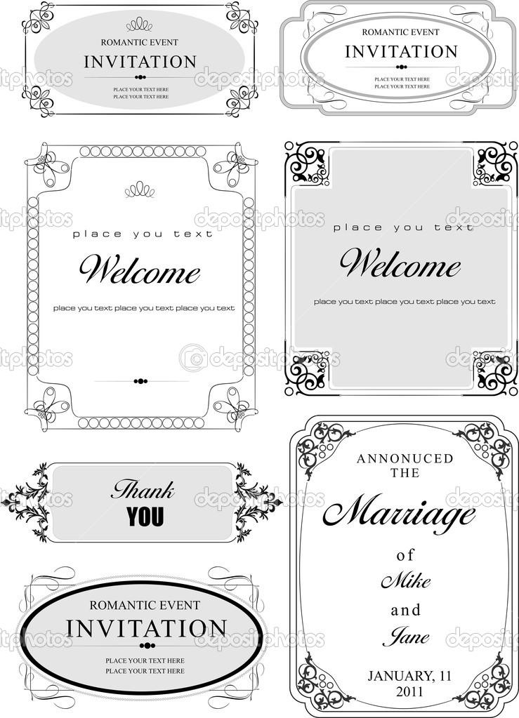 Set of ornate vector frames and ornaments with sample text. Perfect as invitation or announcement. All pieces are separate  Stock Vector #10046997