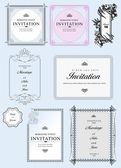 Set of ornate vector frames and ornaments with sample text. Perfect as invitation or announcement. All pieces are separate — Stock Vector