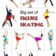 Big set of Figure skating colored silhouettes. Vector illustrati — Stock Vector