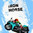Grunge blue background with motorcycle image. Iron horse. Vector - Stock Vector