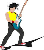 Guitar player isolated on the white background. Vector illustrat — Stock Vector