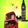 Grunge London images with buses image. Vector illustration — Stok Vektör