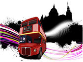 Grunge London images with double decker red bus image. Vector il — Stock Vector