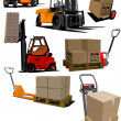 Big set of Forklifts and pallet trucks Vector illustration — Vektorgrafik