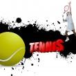 Grunge tennis poster with tennis ball and player,vector illustra — Stock Vector