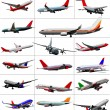 Big set of  Airliners. Vector illustration — Stock Vector