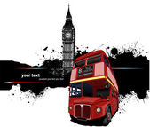 Grunge banner with London and bus images. Vector illustration — Stock Vector
