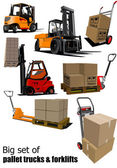 Big set of Forklifts and pallet trucks Vector illustration — Stock Vector