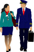 Flight crew. Cheerful pilot and stewardess with trolley, isolate — Stock Vector