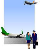 Scène de l'aéroport. illustration vectorielle pour les concepteurs — Vecteur