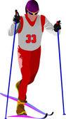 Corredor del esquí siluetas de colores. ilustración vectorial — Vector de stock