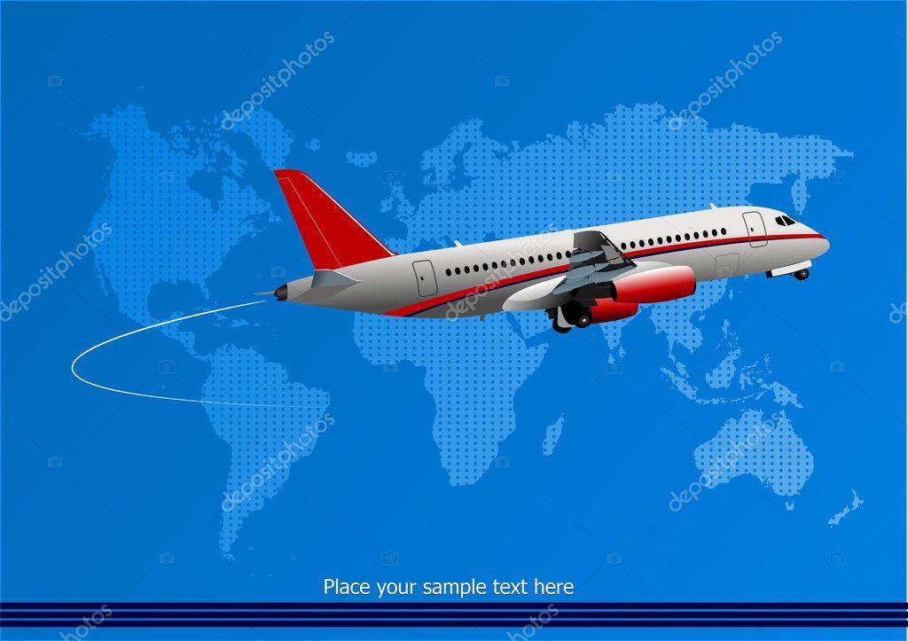 蓝色抽象背景与客运飞机和世界地图形象